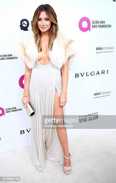 Actress Ashley Tisdale attends the 24th Annual Elton John AIDS Foundation's Oscar Viewing Party at The City of West Hollywood Park on February 28...