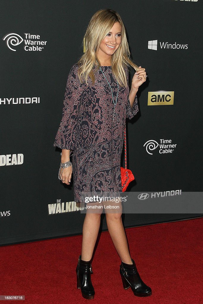Actress Ashley Tisdale attends the AMC's 'The Walking Dead' - Season 4 Premiere Party at AMC Universal City Walk on October 3, 2013 in Universal City, California.