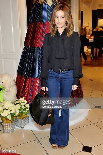 Actress Ashley Tisdale attends the Brooks Brothers holiday party with St Jude Children's Research Hospital at Brooks Brothers on Rodeo Drive on...