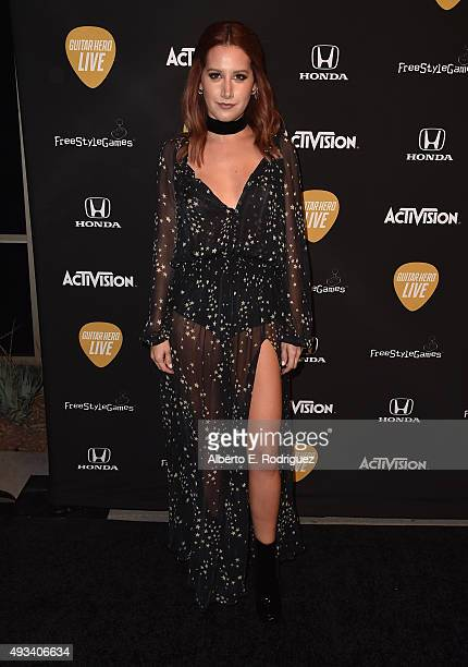 Actress Ashley Tisdale attends the Guitar Hero Live Launch Party at YouTube Space LA on October 19 2015 in Los Angeles California