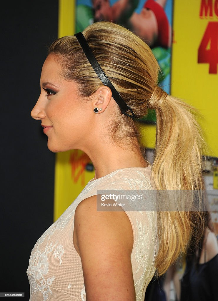 Actress Ashley Tisdale (hair detail) attends the premiere of Relativity Media's 'Movie 43' at TCL Chinese Theatre on January 23, 2013 in Hollywood, California.
