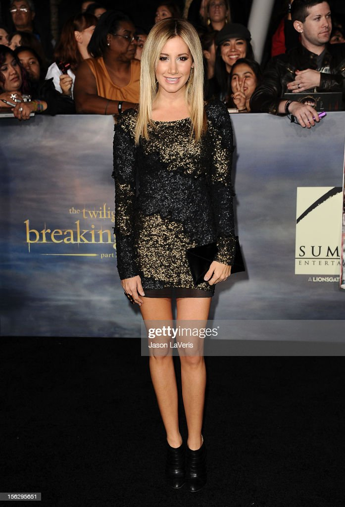 Actress Ashley Tisdale attends the premiere of 'The Twilight Saga: Breaking Dawn - Part 2' at Nokia Theatre L.A. Live on November 12, 2012 in Los Angeles, California.