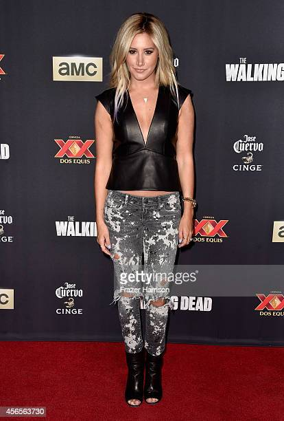 Actress Ashley Tisdale attends the season 5 premiere of 'The Walking Dead' at AMC Universal City Walk on October 2 2014 in Universal City California