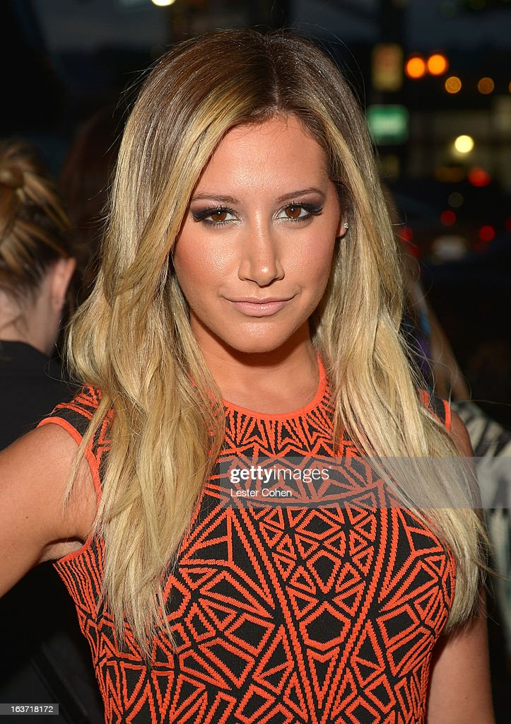 Actress <a gi-track='captionPersonalityLinkClicked' href=/galleries/search?phrase=Ashley+Tisdale&family=editorial&specificpeople=213972 ng-click='$event.stopPropagation()'>Ashley Tisdale</a> attends the 'Spring Breakers' Los Angeles Premiere at ArcLight Hollywood on March 14, 2013 in Hollywood, California.