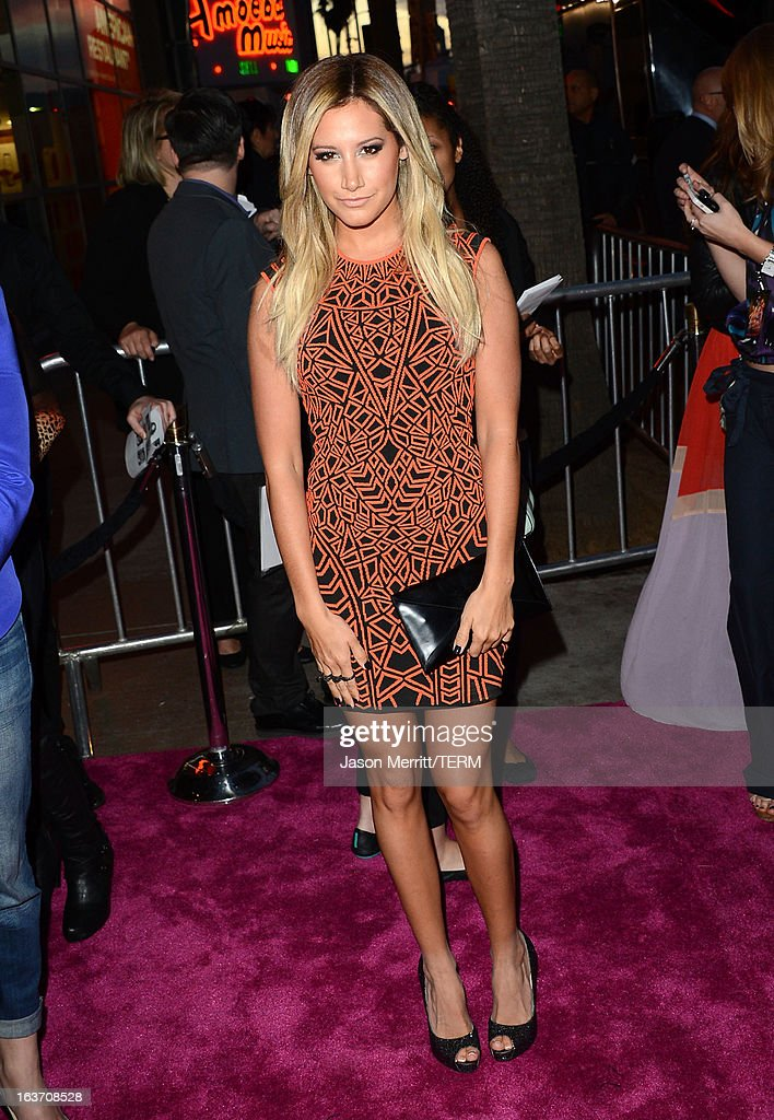 Actress Ashley Tisdale attends the 'Spring Breakers' premiere at ArcLight Cinemas on March 14, 2013 in Hollywood, California.