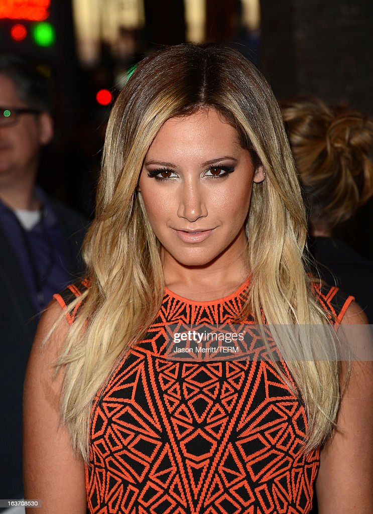 Actress <a gi-track='captionPersonalityLinkClicked' href=/galleries/search?phrase=Ashley+Tisdale&family=editorial&specificpeople=213972 ng-click='$event.stopPropagation()'>Ashley Tisdale</a> attends the 'Spring Breakers' premiere at ArcLight Cinemas on March 14, 2013 in Hollywood, California.