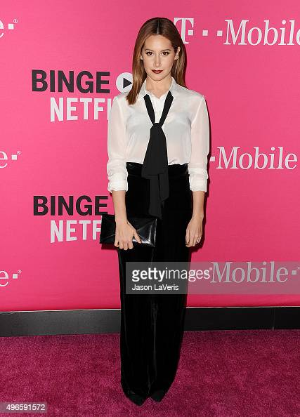 Actress Ashley Tisdale attends the TMobile Uncarrier X launch at The Shrine Auditorium on November 10 2015 in Los Angeles California