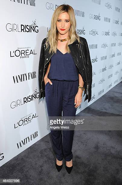 Actress Ashley Tisdale attends VANITY FAIR and L'Oreal Paris DJ Night hosted by Freida Pinto to benefit Girl Rising at 1OAK on February 20 2015 in...