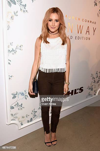 Actress Ashley Tisdale poses backstage at the LC Lauren Conrad fashion show during New York Fashion Week Spring 2016 at Skylight Modern on September...