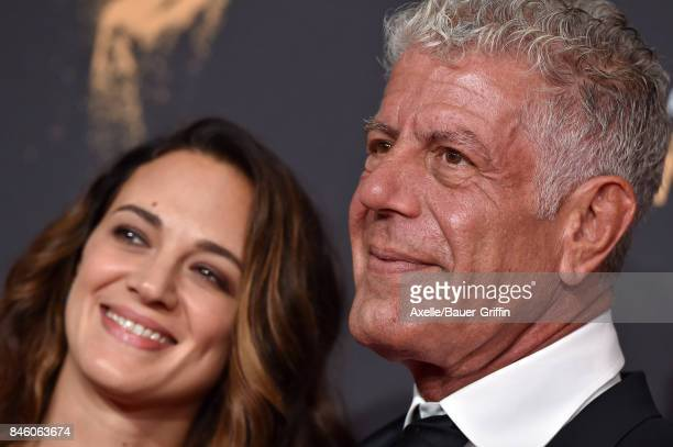 Actress Asia Argento and chef Anthony Bourdain arrive at the 2017 Creative Arts Emmy Awards at Microsoft Theater on September 9 2017 in Los Angeles...