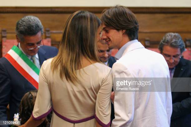 Actress Asia Argento and director Michele Civetta attend the wedding of Asia Argento and Michele Civetta/ gets married on August 27 2008 in Arezzo...