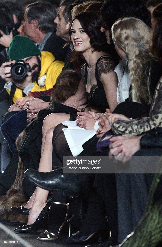 Actress <a gi-track='captionPersonalityLinkClicked' href=/galleries/search?phrase=Asia+Argento&family=editorial&specificpeople=856947 ng-click='$event.stopPropagation()'>Asia Argento</a> attends Ermanno Scervino fashion show as part of Pitti Immagine Uomo 83 at Palazzo Vecchio on January 9, 2013 in Florence, Italy.