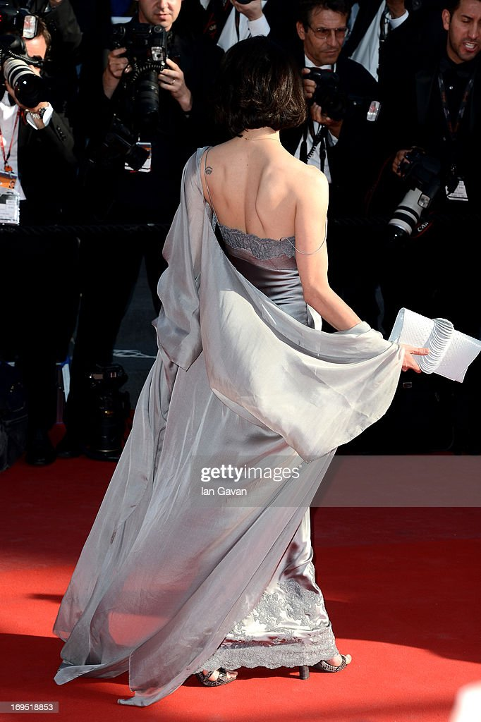 Actress Asia Argento (tattoo detail) attends the 'Zulu' Premiere and Closing Ceremony during the 66th Annual Cannes Film Festival at the Palais des Festivals on May 26, 2013 in Cannes, France.