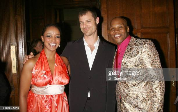 Actress Asmeret Ghebremichael writer Matt Stone and actor Michael James Scott attend the after party for the opening night of 'the Book of Mormon' on...