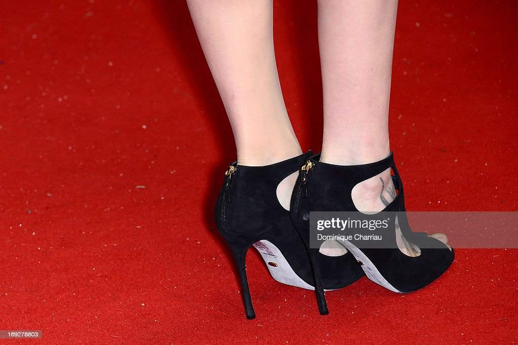 Actress Astrid Berges-Frisbey (shoe detail) attends the Premiere of 'Only God Forgives' at The 66th Annual Cannes Film Festival on May 22, 2013 in Cannes, France.