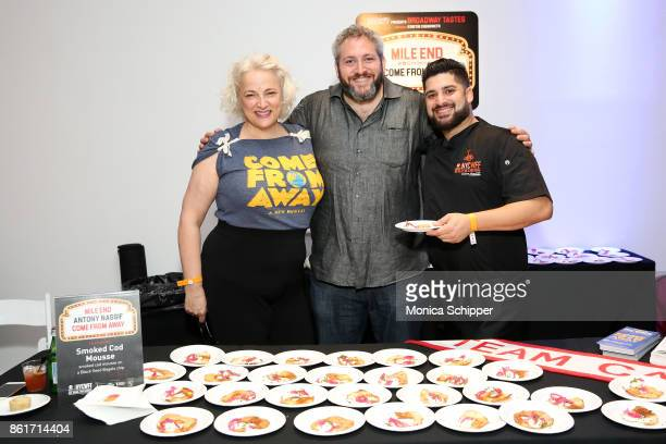 Actress Astrid Van Wieren poses with Smoked Cod Mousse prepared by Chef Anthony Nassif during Broadway Tastes presented by Variety at Metropolitan...