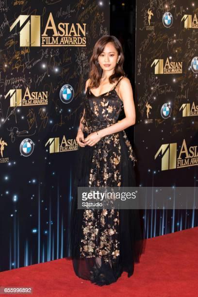 Actress Atsuko Maeda poses on the red carpet during the 11th Asian Film Awards on March 21 2017 at Hong Kong Cultural Centre in Hong Kong Hong Kong