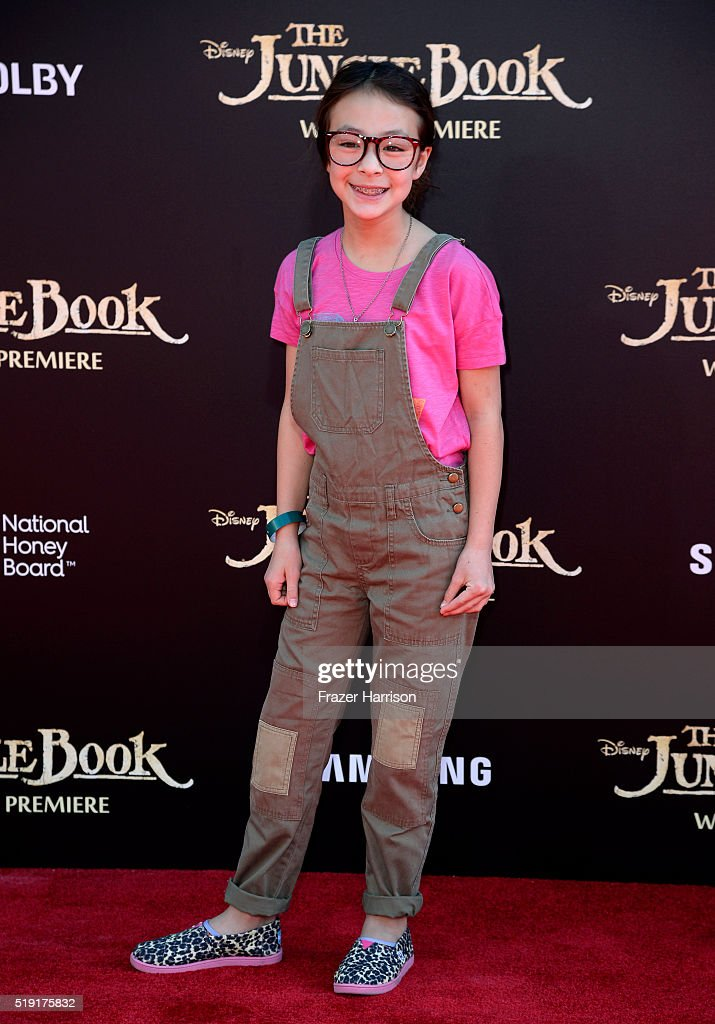 Actress Aubrey AndersonEmmons attends the premiere of Disney's 'The Jungle Book' at the El Capitan Theatre on April 4 2016 in Hollywood California