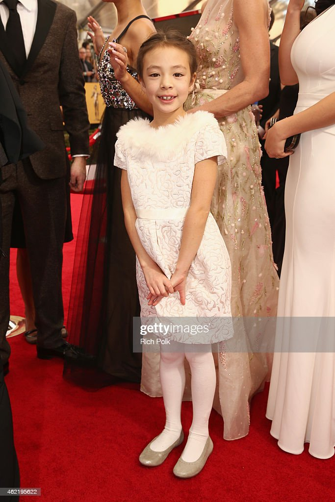 Actress Aubrey AndersonEmmons attends TNT's 21st Annual Screen Actors Guild Awards at The Shrine Auditorium on January 25 2015 in Los Angeles...