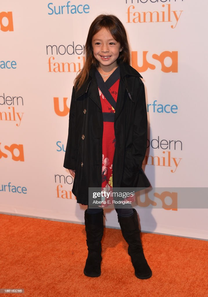 Actress Aubrey AndersonEmmons attends USA Network's 'Modern Family' fan appreciation day at Westwood Village on October 28 2013 in Los Angeles...