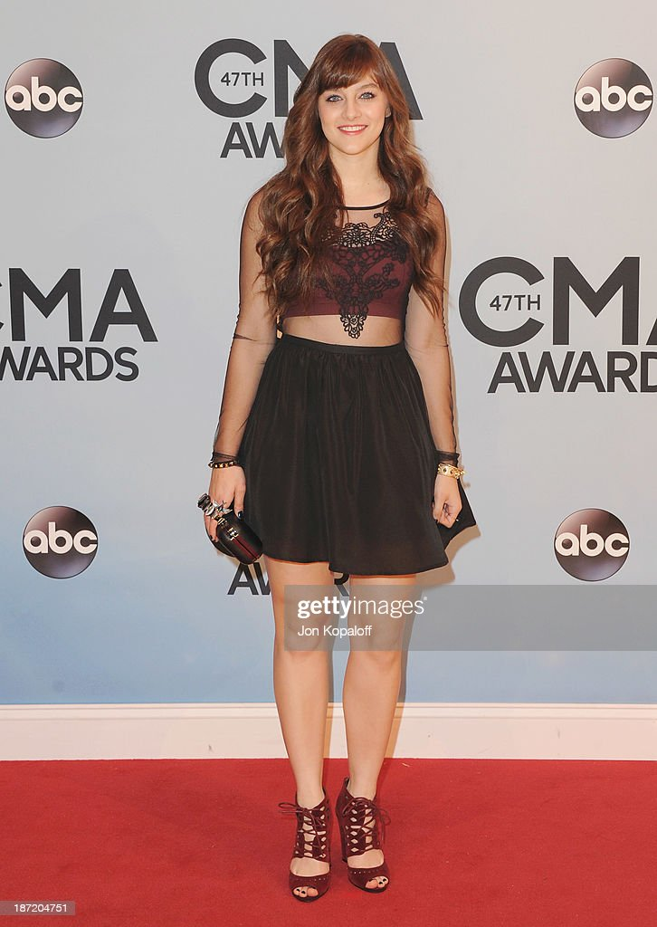 Actress Aubrey Peeples attends the 47th annual CMA Awards at the Bridgestone Arena on November 6, 2013 in Nashville, Tennessee.