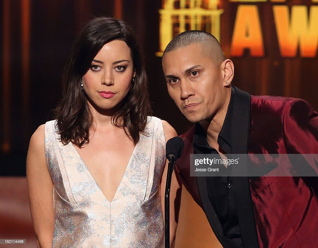 Actress <a gi-track='captionPersonalityLinkClicked' href=/galleries/search?phrase=Aubrey+Plaza&family=editorial&specificpeople=5299268 ng-click='$event.stopPropagation()'>Aubrey Plaza</a> and singer Taboo speak onstage at the 2012 NCLR ALMA Awards at Pasadena Civic Auditorium on September 16, 2012 in Pasadena, California.