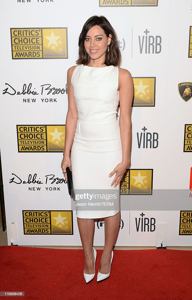 Actress <a gi-track='captionPersonalityLinkClicked' href=/galleries/search?phrase=Aubrey+Plaza&family=editorial&specificpeople=5299268 ng-click='$event.stopPropagation()'>Aubrey Plaza</a> arrives at Broadcast Television Journalists Association's third annual Critics' Choice Television Awards at The Beverly Hilton Hotel on June 10, 2013 in Beverly Hills, California.