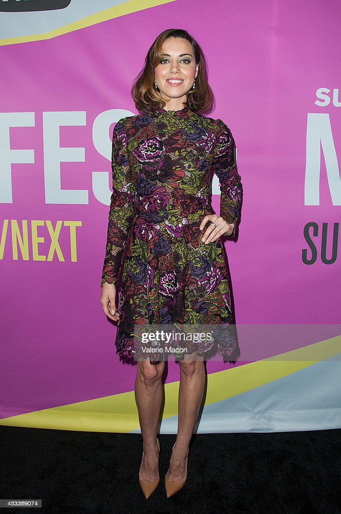 Actress Aubrey Plaza arrives at Sundance NextFest Film Festival Premiere Of 'Life After Beth' at The Theatre At The Ace Hotel on August 8 2014 in Los...