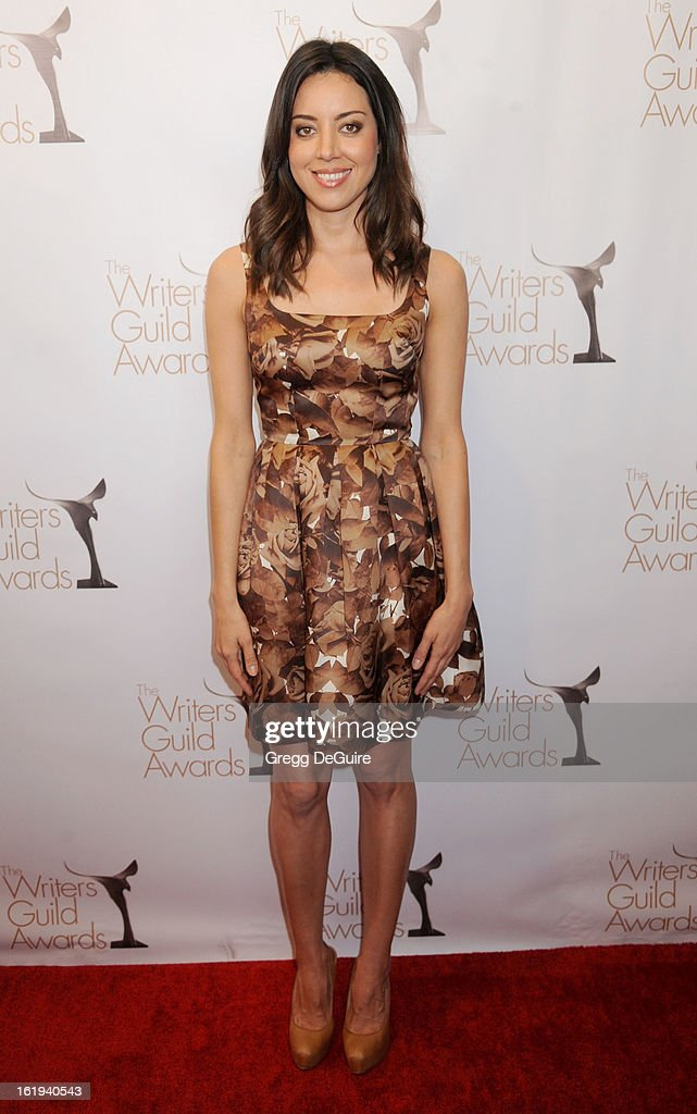 Actress <a gi-track='captionPersonalityLinkClicked' href=/galleries/search?phrase=Aubrey+Plaza&family=editorial&specificpeople=5299268 ng-click='$event.stopPropagation()'>Aubrey Plaza</a> arrives at the 2013 Writers Guild Awards at JW Marriott Los Angeles at L.A. LIVE on February 17, 2013 in Los Angeles, California.