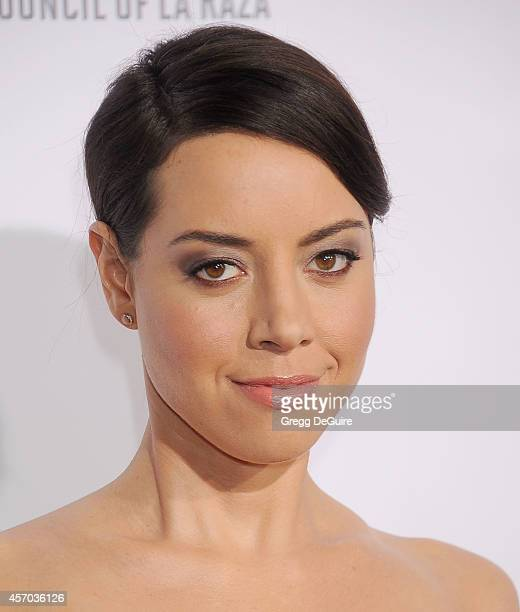 Actress Aubrey Plaza arrives at the 2014 NCLR ALMA Awards at Pasadena Civic Auditorium on October 10 2014 in Pasadena California