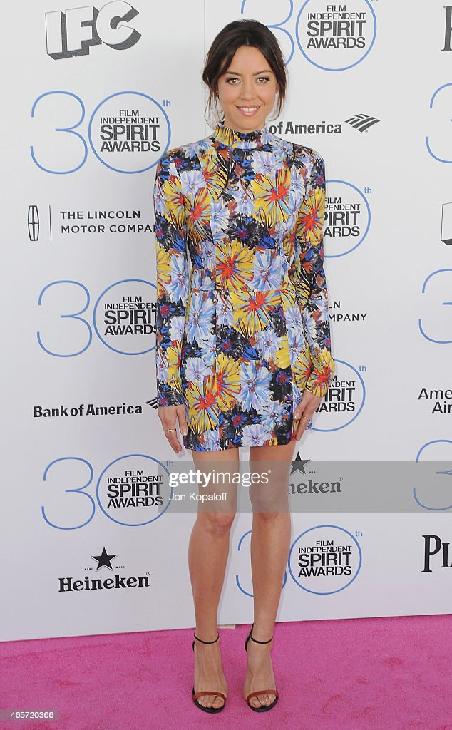 Actress Aubrey Plaza arrives at the 2015 Film Independent Spirit Awards on February 21 2015 in Santa Monica California