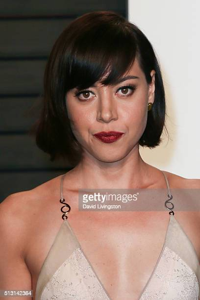Actress Aubrey Plaza arrives at the 2016 Vanity Fair Oscar Party Hosted by Graydon Carter at the Wallis Annenberg Center for the Performing Arts on...