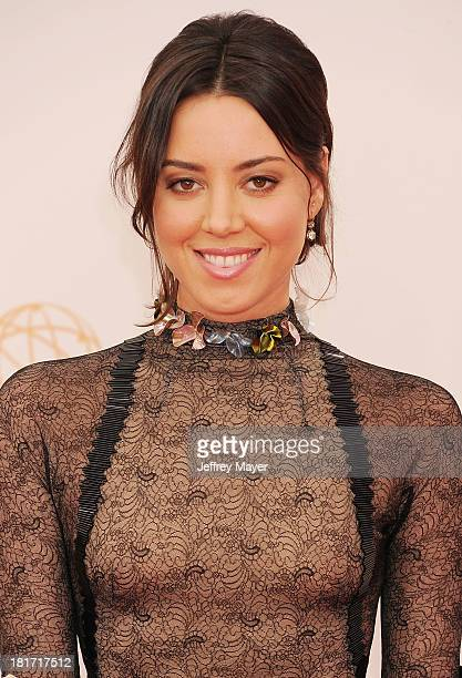 Actress Aubrey Plaza arrives at the 65th Annual Primetime Emmy Awards at Nokia Theatre LA Live on September 22 2013 in Los Angeles California