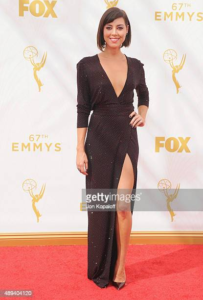Actress Aubrey Plaza arrives at the 67th Annual Primetime Emmy Awards at Microsoft Theater on September 20 2015 in Los Angeles California