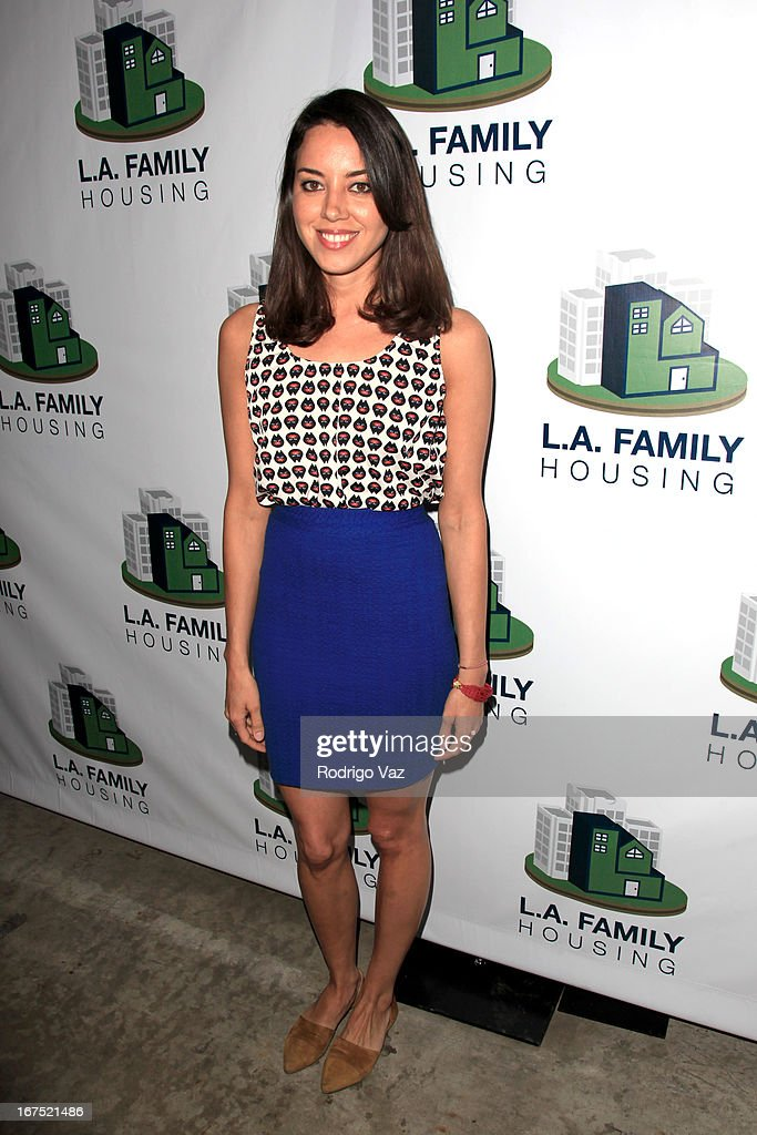 Actress <a gi-track='captionPersonalityLinkClicked' href=/galleries/search?phrase=Aubrey+Plaza&family=editorial&specificpeople=5299268 ng-click='$event.stopPropagation()'>Aubrey Plaza</a> arrives at the L.A. Family Housing Awards 2013 at Book Bindery on April 25, 2013 in Culver City, California.
