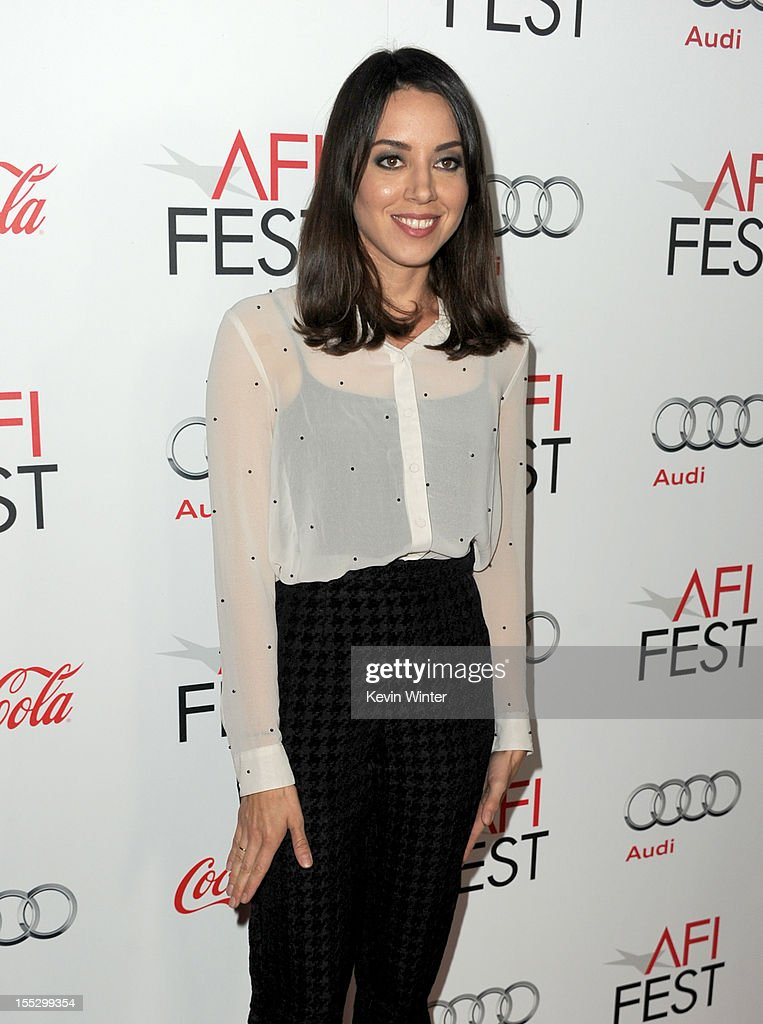 Actress <a gi-track='captionPersonalityLinkClicked' href=/galleries/search?phrase=Aubrey+Plaza&family=editorial&specificpeople=5299268 ng-click='$event.stopPropagation()'>Aubrey Plaza</a> arrives at the 'Los Angeles Times Young Hollywood' Panel during 2012 AFI Fest 2012 presented by Audi at Grauman's Chinese Theatre on November 2, 2012 in Hollywood, California.