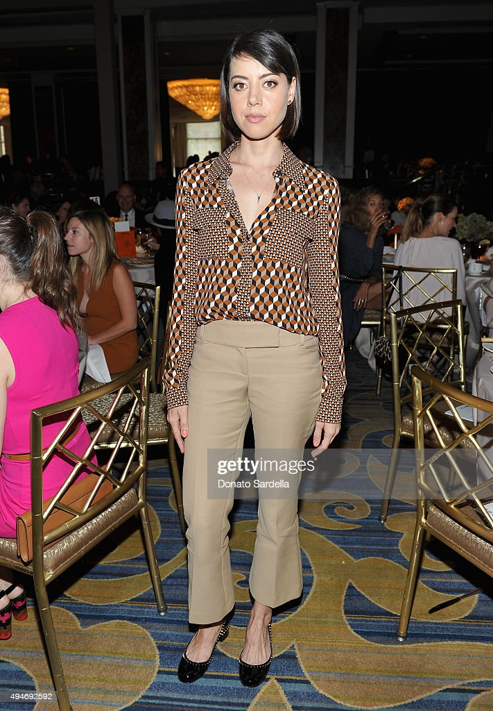 Actress Aubrey Plaza attends Michael Kors Presents The Museum Of Contemporary Art's Distinguished Women In The Arts Luncheon at the Beverly Wilshire...