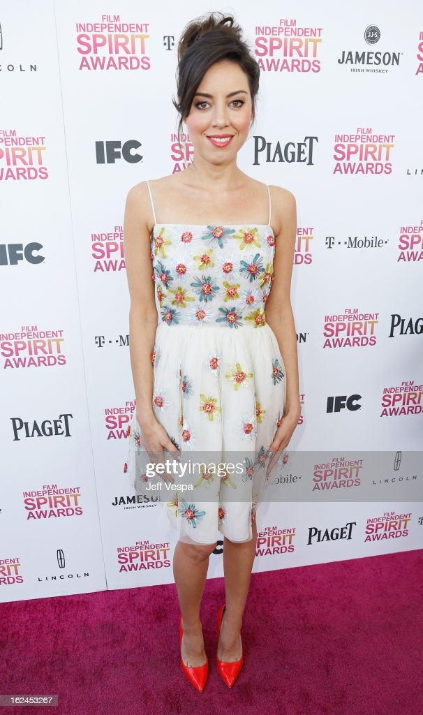 Actress <a gi-track='captionPersonalityLinkClicked' href=/galleries/search?phrase=Aubrey+Plaza&family=editorial&specificpeople=5299268 ng-click='$event.stopPropagation()'>Aubrey Plaza</a> attends the 2013 Film Independent Spirit Awards at Santa Monica Beach on February 23, 2013 in Santa Monica, California.