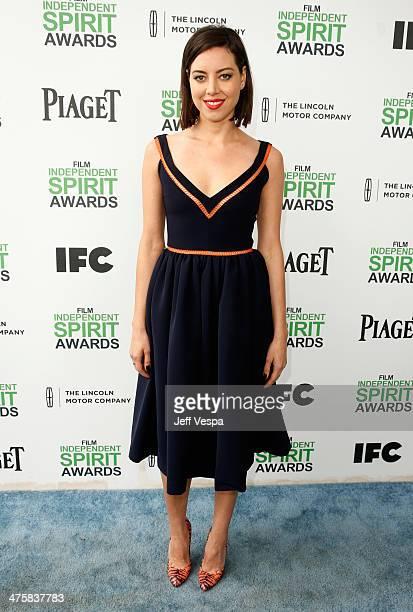 Actress Aubrey Plaza attends the 2014 Film Independent Spirit Awards at Santa Monica Beach on March 1 2014 in Santa Monica California