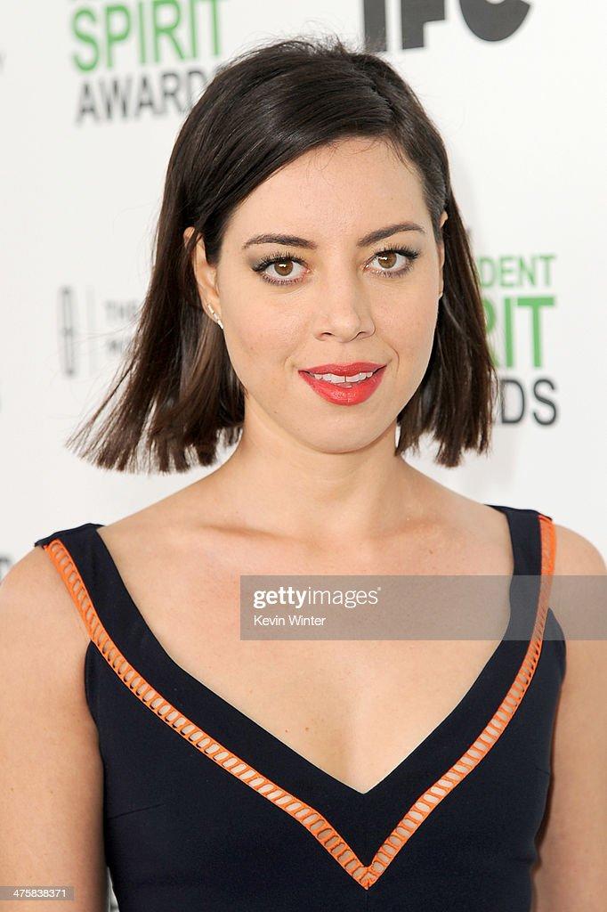 Actress Aubrey Plaza attends the 2014 Film Independent Spirit Awards at Santa Monica Beach on March 1, 2014 in Santa Monica, California.