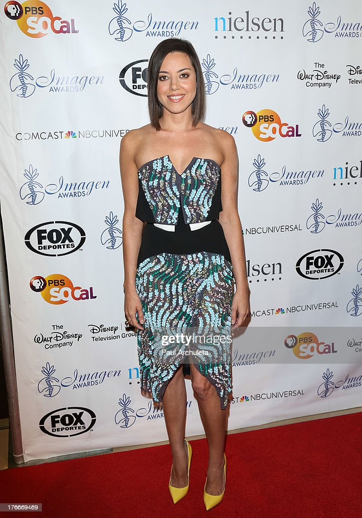 Actress <a gi-track='captionPersonalityLinkClicked' href=/galleries/search?phrase=Aubrey+Plaza&family=editorial&specificpeople=5299268 ng-click='$event.stopPropagation()'>Aubrey Plaza</a> attends the 28th annual Imagen Awards at The Beverly Hilton Hotel on August 16, 2013 in Beverly Hills, California.