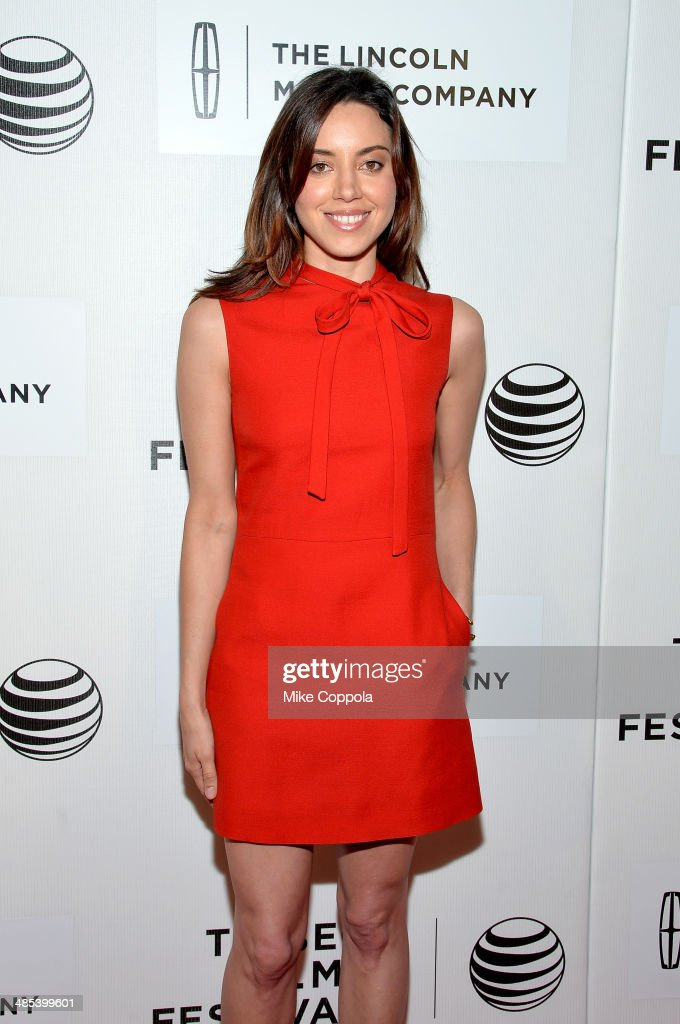 Actress <a gi-track='captionPersonalityLinkClicked' href=/galleries/search?phrase=Aubrey+Plaza&family=editorial&specificpeople=5299268 ng-click='$event.stopPropagation()'>Aubrey Plaza</a> attends the 'About Alex' Premiere during the 2014 Tribeca Film Festival at BMCC Tribeca PAC on April 17, 2014 in New York City.