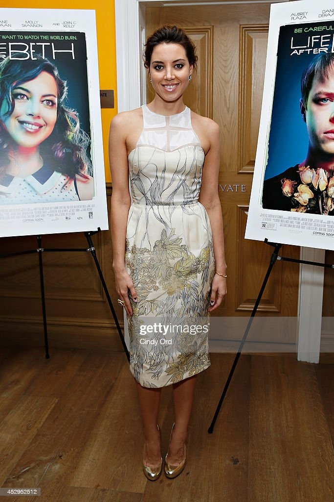 Actress <a gi-track='captionPersonalityLinkClicked' href=/galleries/search?phrase=Aubrey+Plaza&family=editorial&specificpeople=5299268 ng-click='$event.stopPropagation()'>Aubrey Plaza</a> attends the 'Life After Beth' New York Screening at Crosby Street Hotel on July 30, 2014 in New York City.