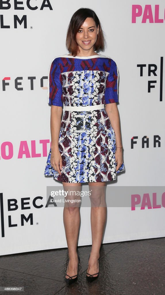 Actress <a gi-track='captionPersonalityLinkClicked' href=/galleries/search?phrase=Aubrey+Plaza&family=editorial&specificpeople=5299268 ng-click='$event.stopPropagation()'>Aubrey Plaza</a> attends the premiere of Tribeca Film's 'Palo Alto' at the Directors Guild of America on May 5, 2014 in Los Angeles, California.