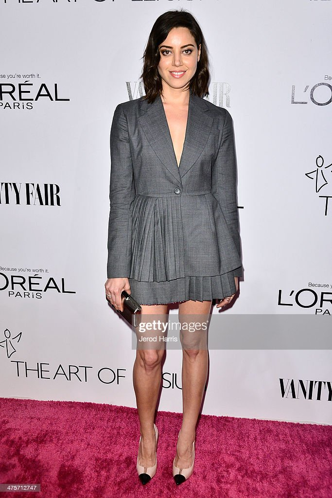 Actress Aubrey Plaza attends the Vanity Fair Campaign Hollywood Kick Off at Sadie Kitchen and Lounge on February 28 2014 in Los Angeles California