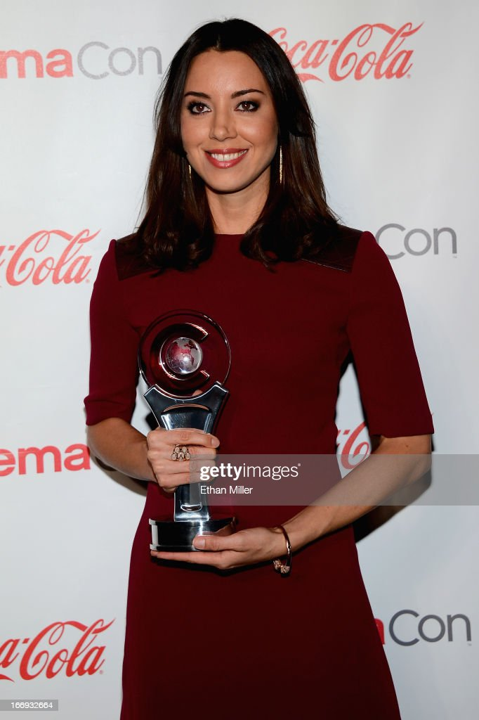 Actress <a gi-track='captionPersonalityLinkClicked' href=/galleries/search?phrase=Aubrey+Plaza&family=editorial&specificpeople=5299268 ng-click='$event.stopPropagation()'>Aubrey Plaza</a>, recipient of the Breakthrough Performer of the Year Award, arrives at the CinemaCon awards ceremony at the Pure Nightclub at Caesars Palace during CinemaCon, the official convention of the National Association of Theatre Owners, on April 18, 2013 in Las Vegas, Nevada.