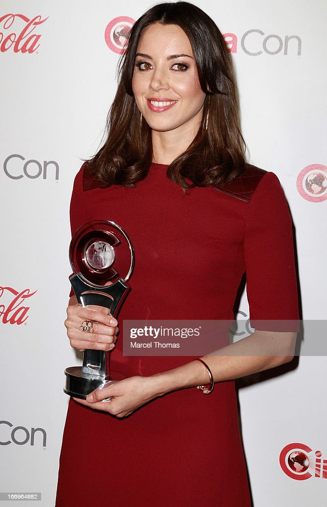 Actress <a gi-track='captionPersonalityLinkClicked' href=/galleries/search?phrase=Aubrey+Plaza&family=editorial&specificpeople=5299268 ng-click='$event.stopPropagation()'>Aubrey Plaza</a>, recipient of the Breakthrough Performer of the Year Award , arrives at the CinemaCon Big Screen Achievement Awards at the Pure Nightclub at Caesars Palace during CinemaCon 2013 on April 18, 2013 in Las Vegas, Nevada.