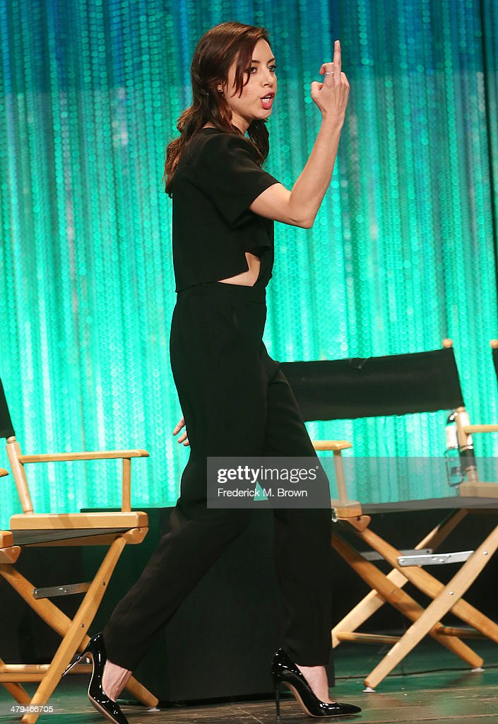 Actress <a gi-track='captionPersonalityLinkClicked' href=/galleries/search?phrase=Aubrey+Plaza&family=editorial&specificpeople=5299268 ng-click='$event.stopPropagation()'>Aubrey Plaza</a> speaks during The Paley Center for Media's PaleyFest 2014 Honoring 'Parks and Recreation' at the Dolby Theatre on March 18, 2014 in Hollywood, California.