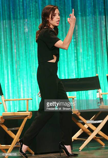 Actress Aubrey Plaza speaks during The Paley Center for Media's PaleyFest 2014 Honoring 'Parks and Recreation' at the Dolby Theatre on March 18 2014...