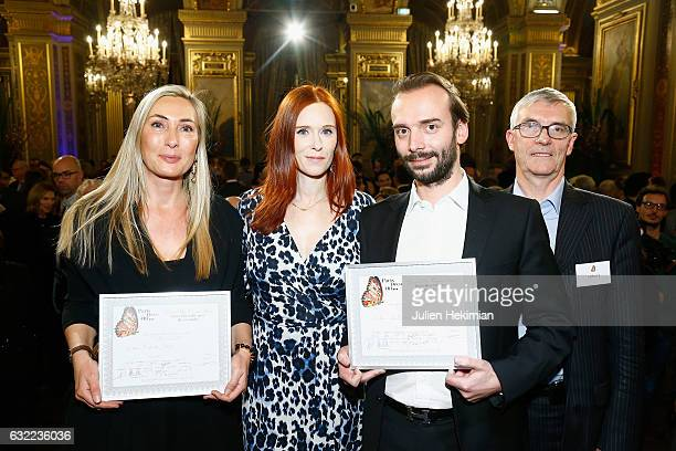 Actress Audrey Fleurot is pictured with the winners of the Paris Deco Off 2017 with Karin Sajo Emmanuel Lelievre and his father Patrick Lelievre as...